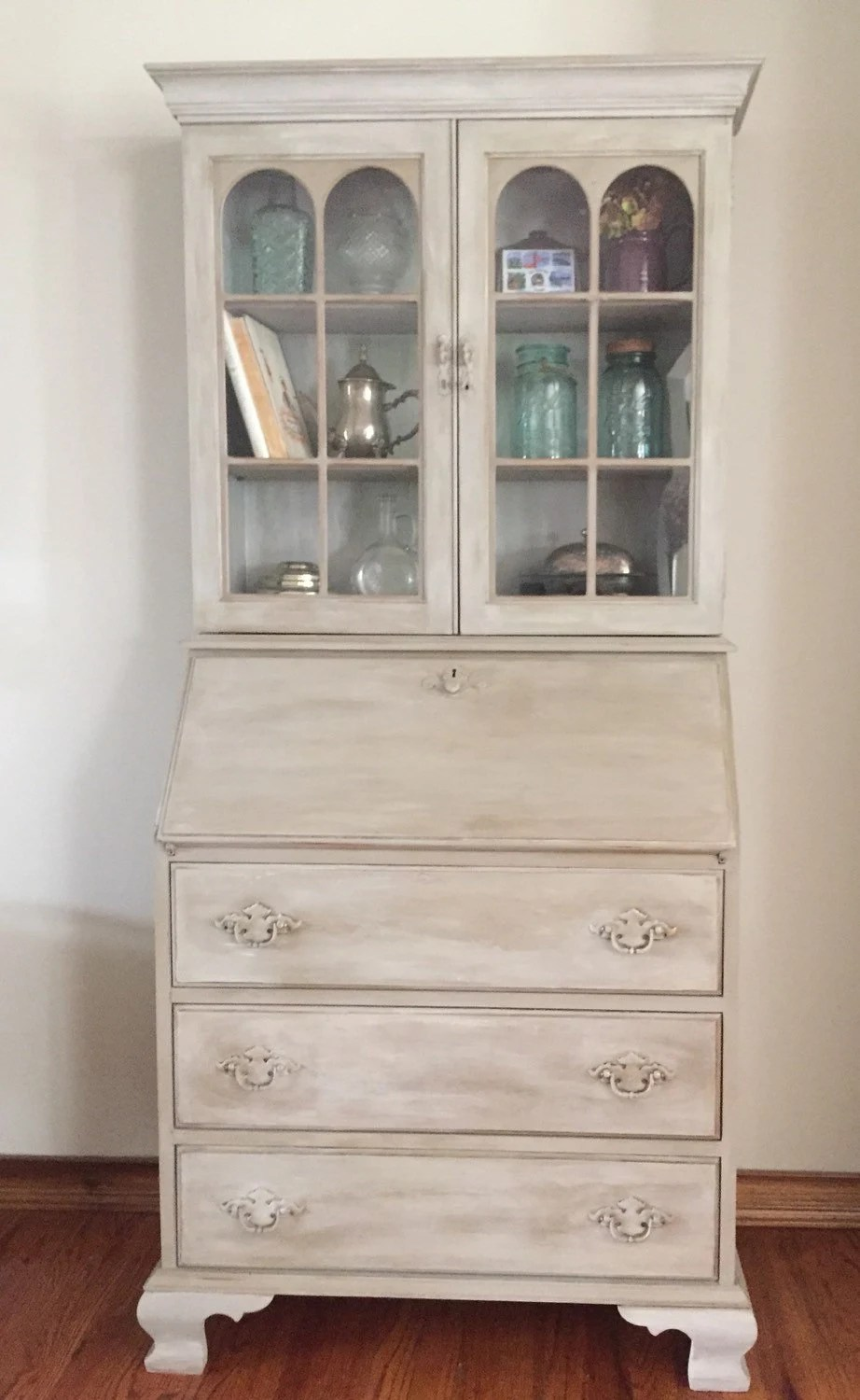 Vintage Antique Secretary Desk Hutch Refinished Hand