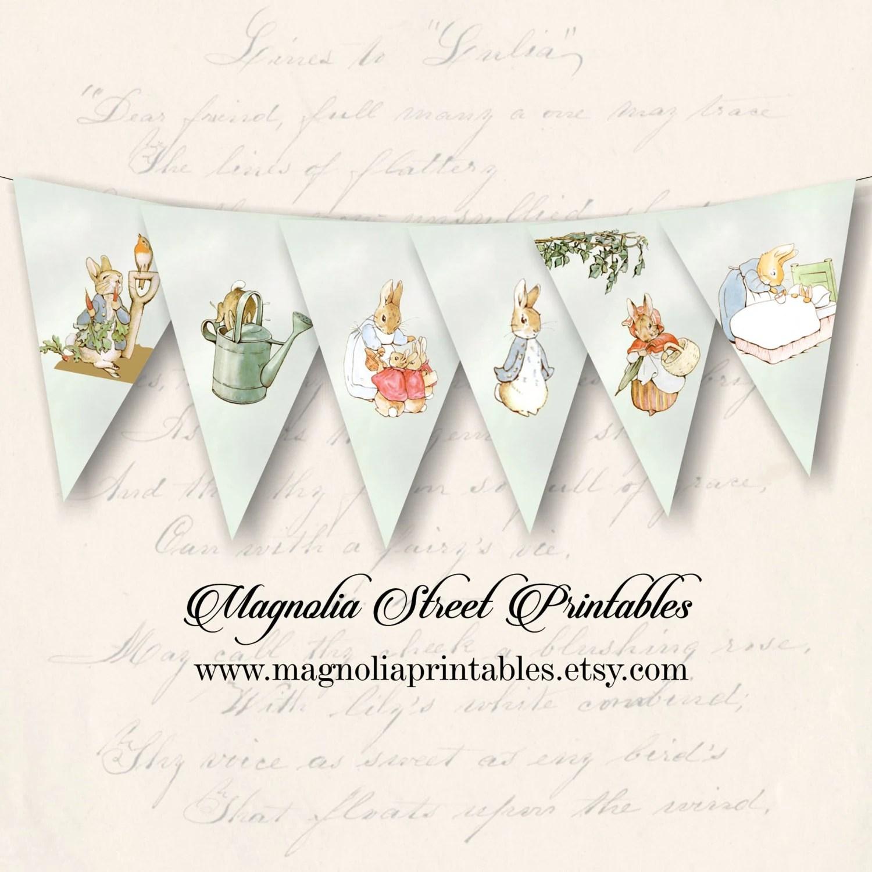 Printable Peter Rabbit Banner Beatrix Potter Banner