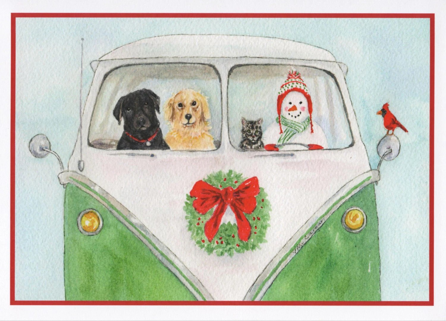 Christmas Card Of Snowman Dogs Cat And Bird In A Classic