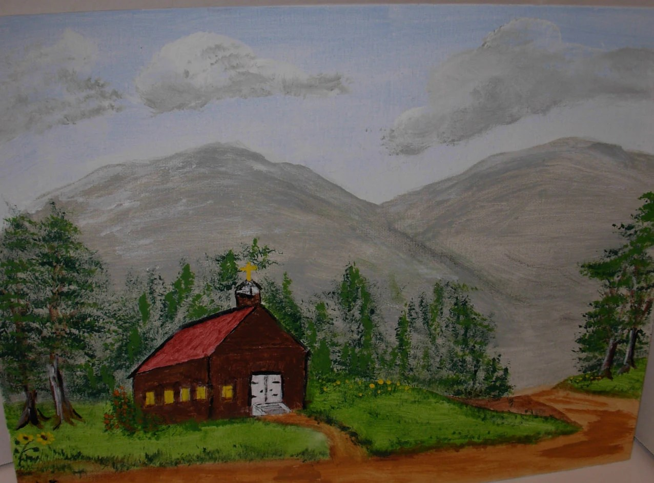 rustic country church original acrylic painting by Rustic Country Paintings id=52876