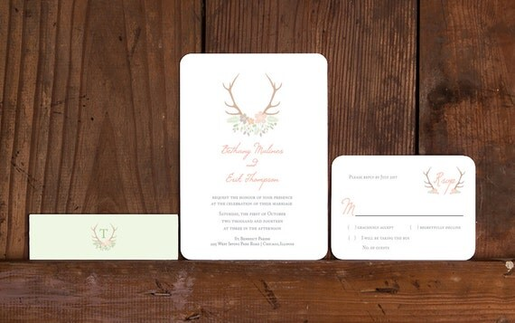 Rustic Antler Wedding Invitations