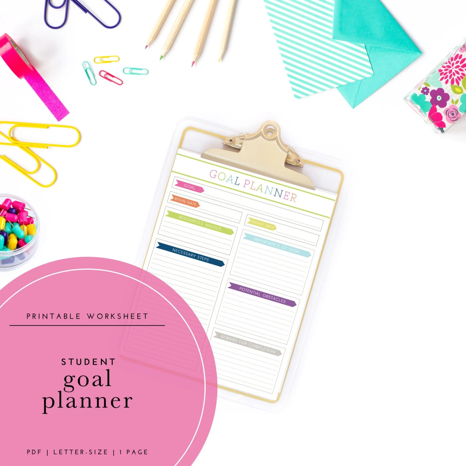 Printable Student Goal Planner Worksheet