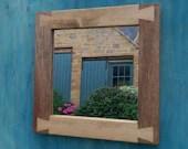 handmade square mirror, w...