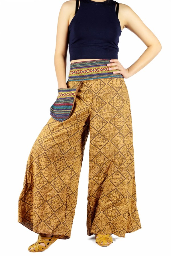 Yellow Ikat Thai Harem Pants Boho Hippie Gypsy Pants Yoga