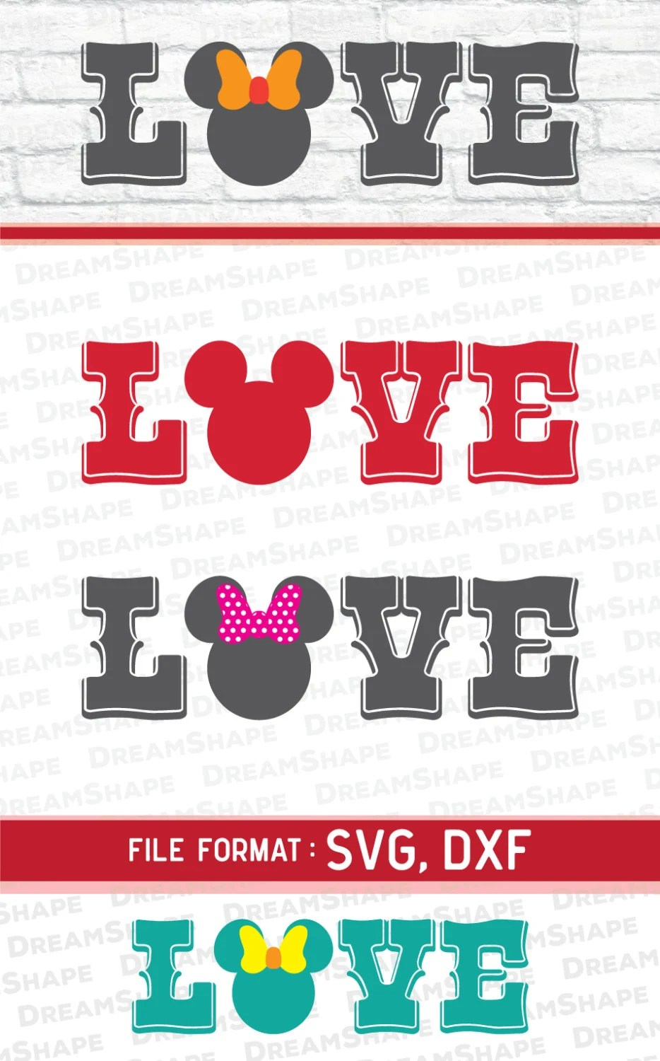 Download Mouse Ears Love Quote SVG File DXF Files for Cricut Machine