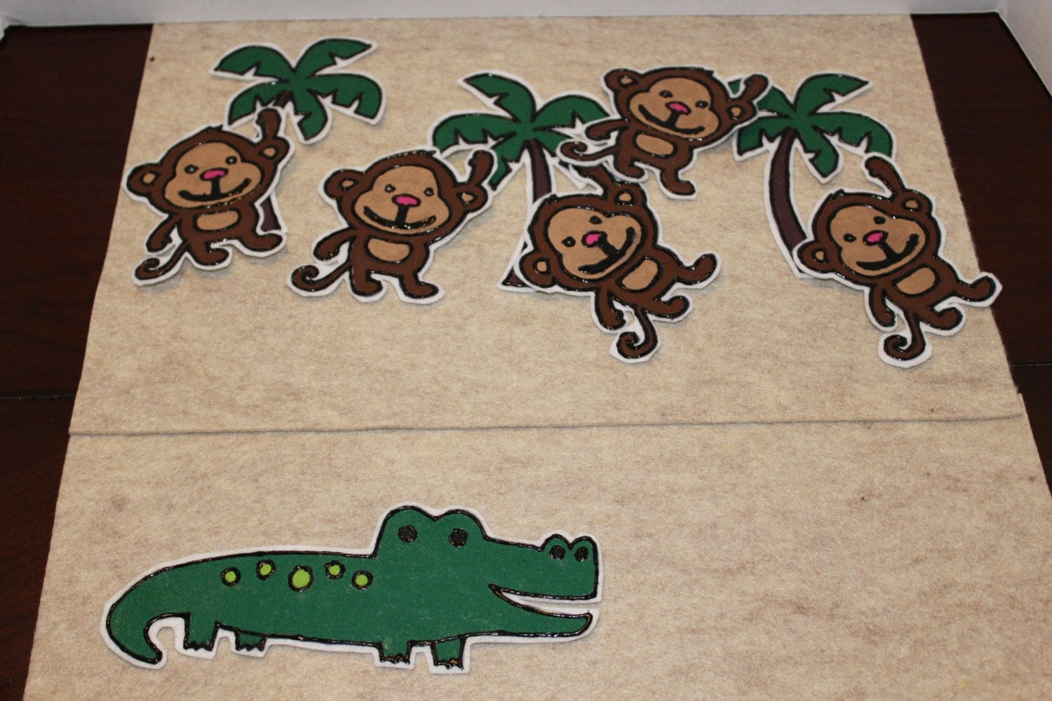 Five Little Monkeys Counting Felt Board Story Preschool Toy