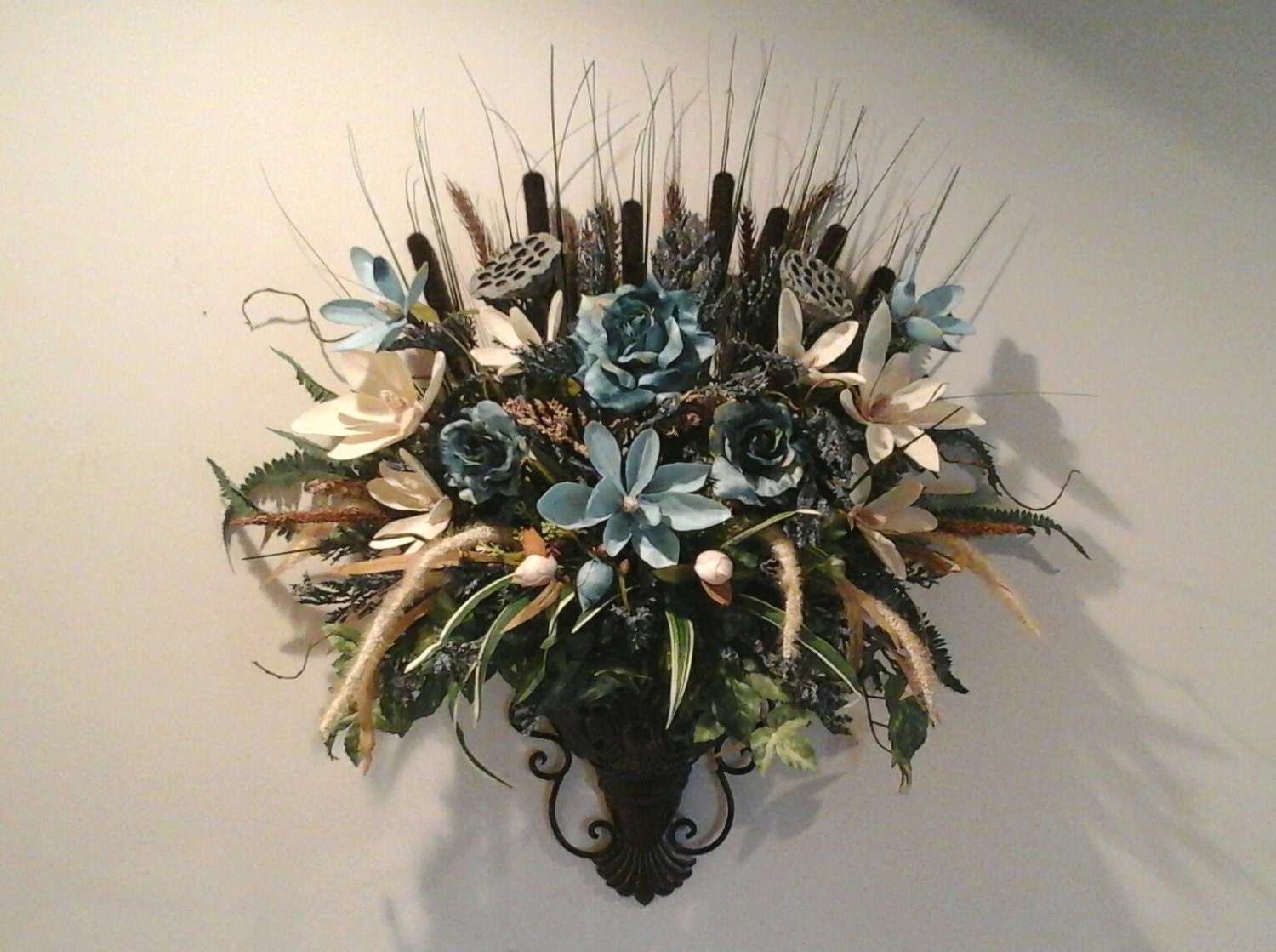 Floral Wall Sconce Wall Arrangement SHIPPING INCLUDED Wall on Wall Sconce Floral Arrangements Arrangement id=56693