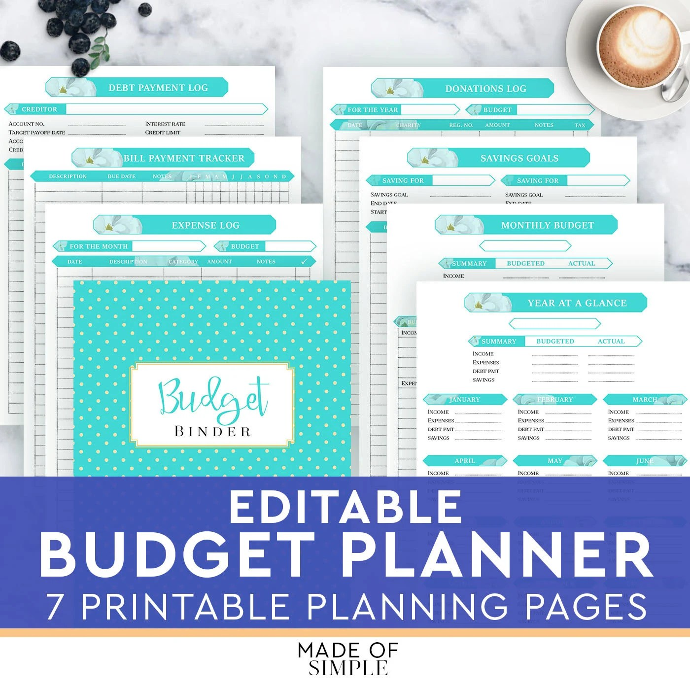 Finance Planner Home Budget Planner Financial By Madeofsimple
