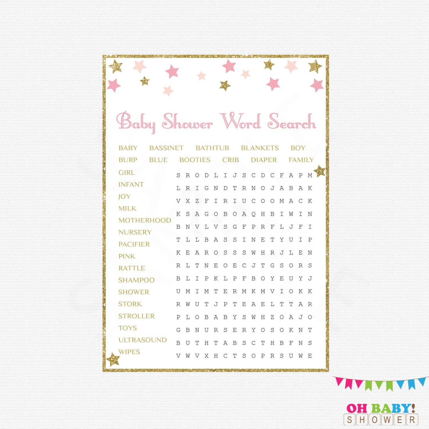Printable Baby Shower Games Word Search Twinkle Twinkle