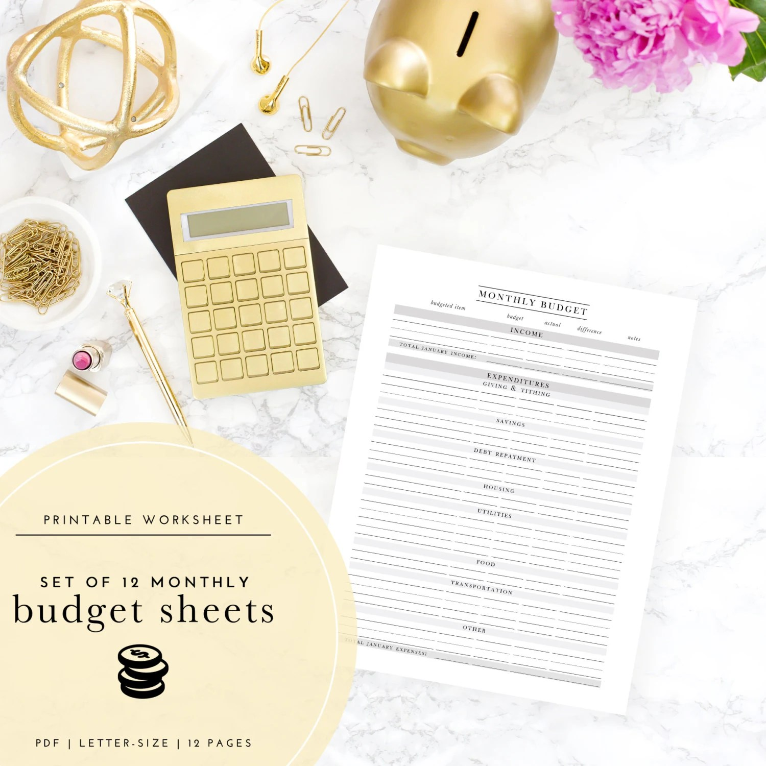 Printable Monthly Budget Worksheets Set Of 12
