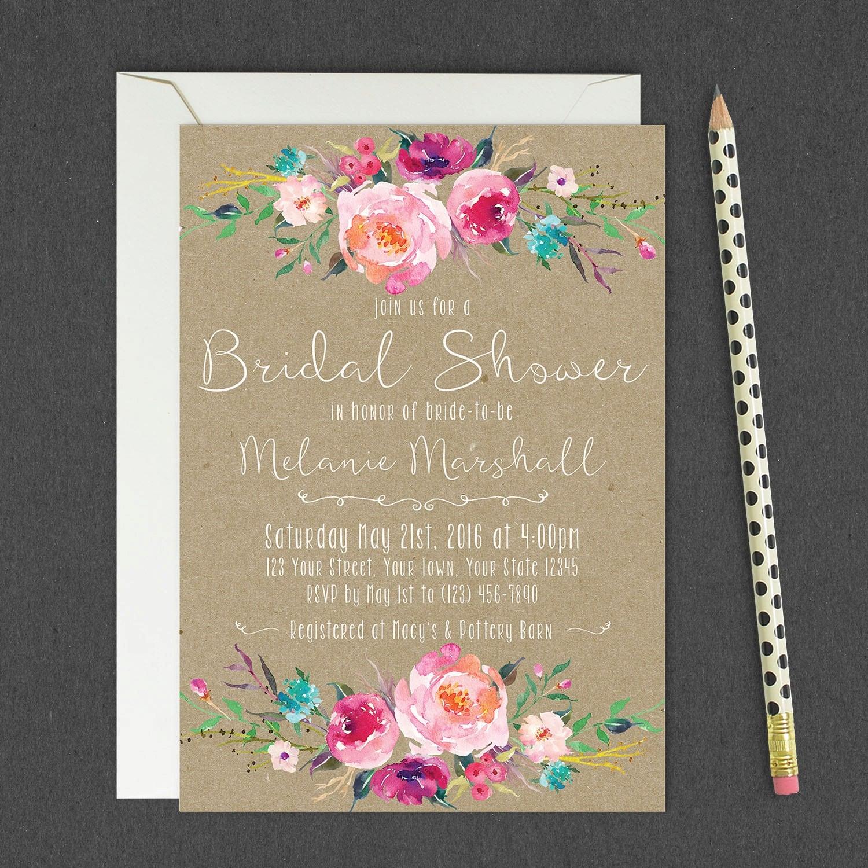 Rustic Floral Bridal Shower Invitations