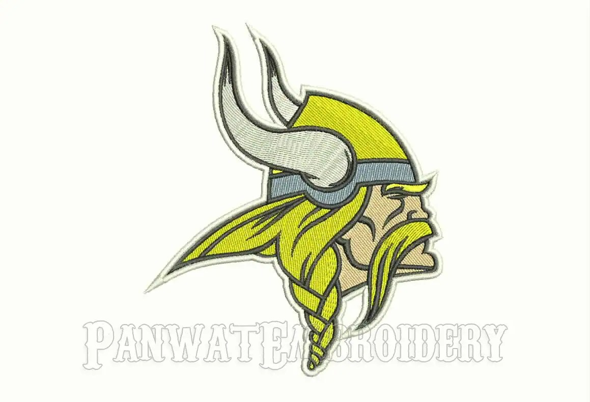 3 Size Minnesota Vikings Logo Embroidery Designs Machine