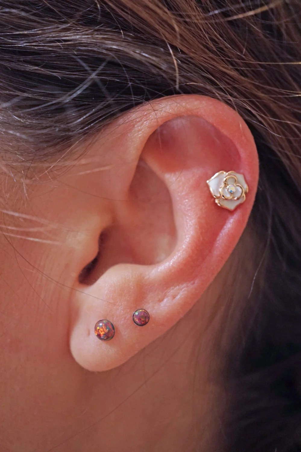 White Gold Cartilage Earrings