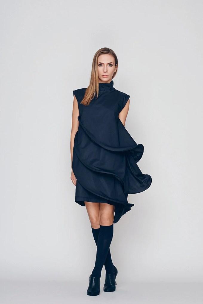 Loose Fit Dress Black Formal Dress Layered Dress Little