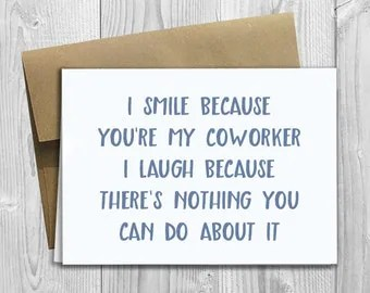 PRINTED Favorite Coworker 5x7 Greeting Card Funny Workplace