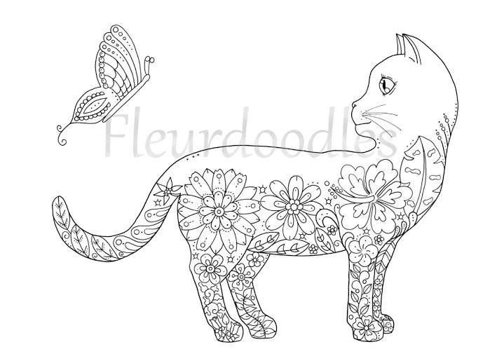 Coloring Page Doodle Cat Printable Instant Download