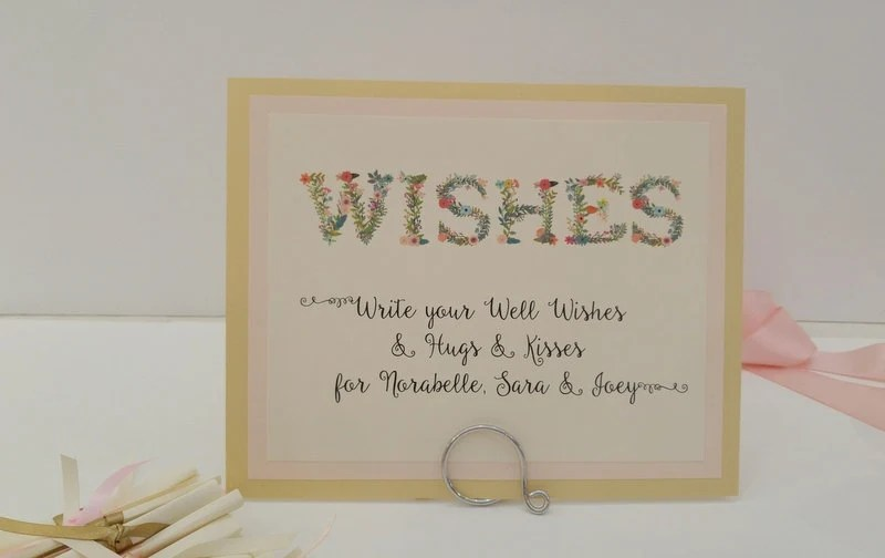 Wishes For Baby Sign And Note Paper For Guests By Inkpartyemporium
