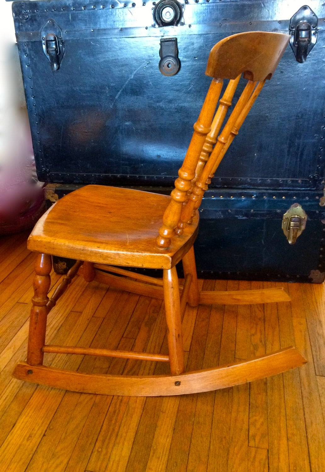 Antique Armless Rocker Wooden Rocking Chair Sewing Chair