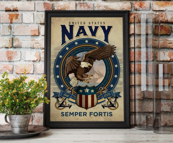 United States Navy Art Print Military by PlaceAndTimeDesign