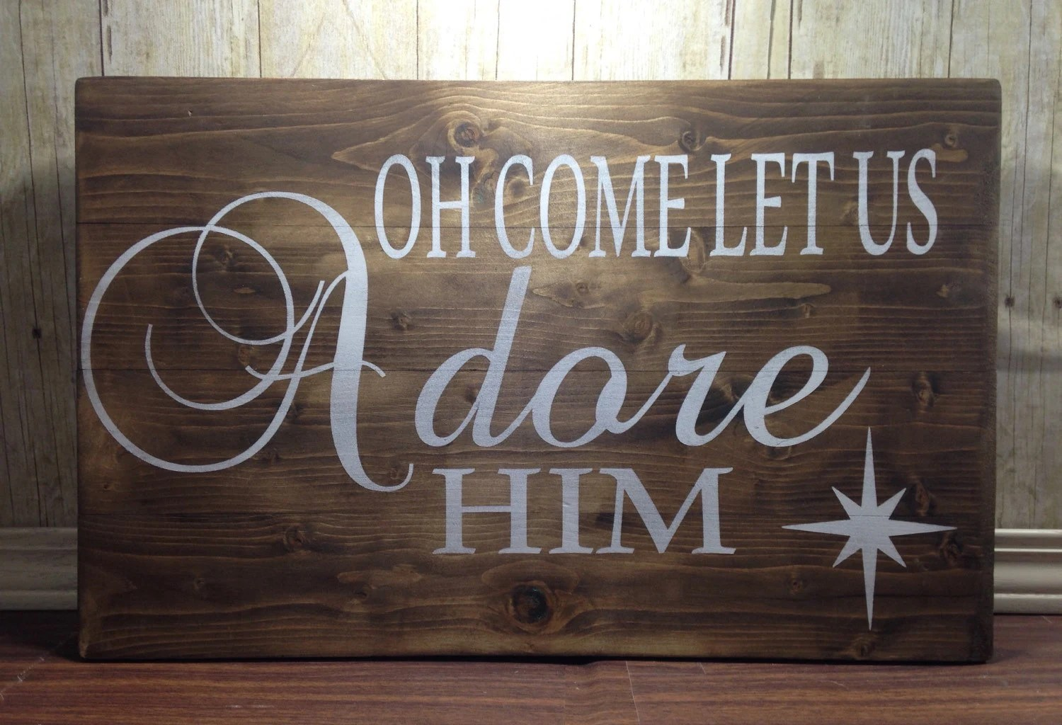 oh come let us adore him christmas wood signs - Christmas Wooden Signs