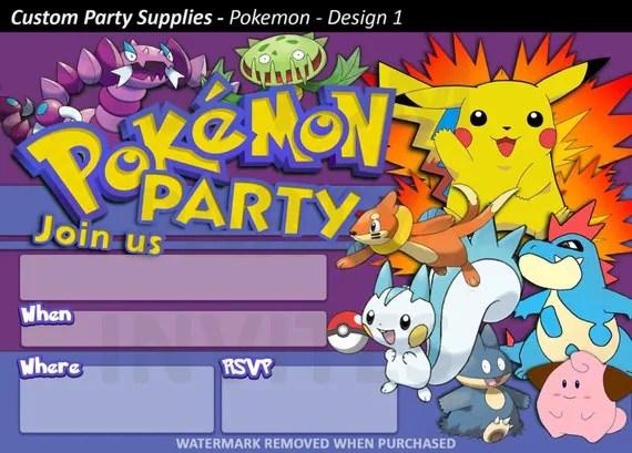 Pokemon Birthday Card Invitations