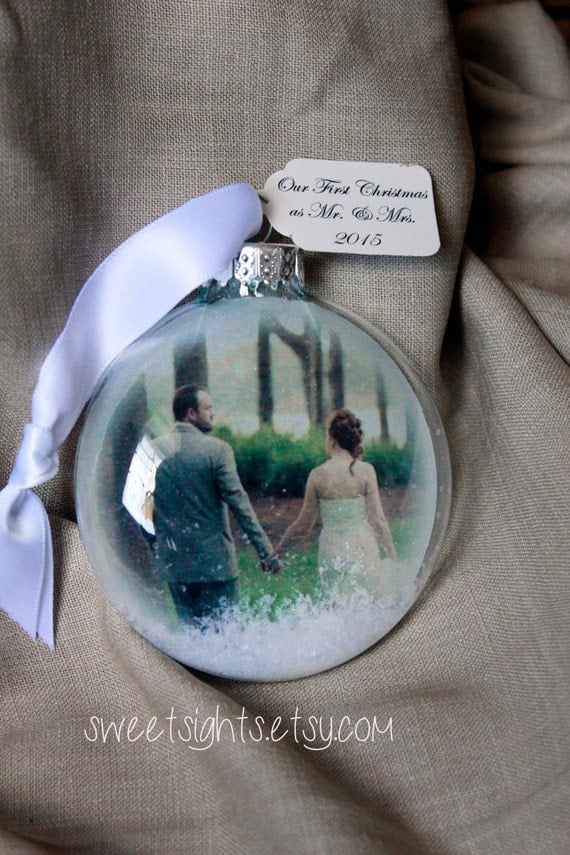 First Christmas ornament, MR & Mrs First Christmas, First married Christmas ornament, just married, photo ornament, picture ornament, gift