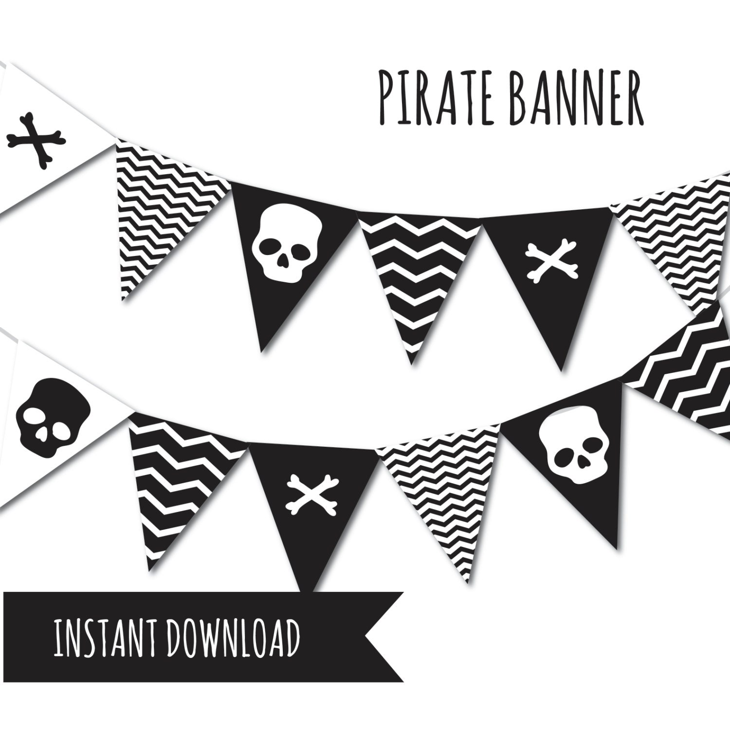 Pirate Banner Pirate Party Bunting Banner Printable Banner