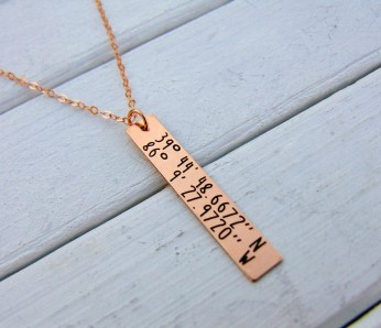 GPS Coordinates Personalized Vertical Bar Necklace, Gold,Rose Gold, Silver,Longitude Latitude, Engraved, Birthday, Christmas, Wedding,
