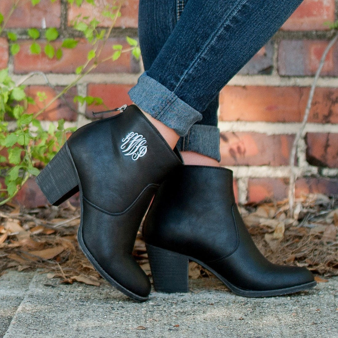Black Initial Boots Monogram Ankle Boots Womens Boots