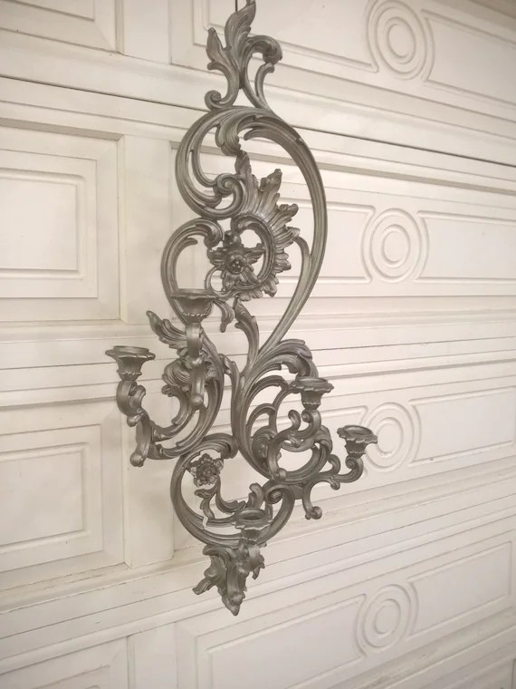 Baroque Silver Wall Sconce Candle Holder on Silver Wall Sconces For Candles id=72405