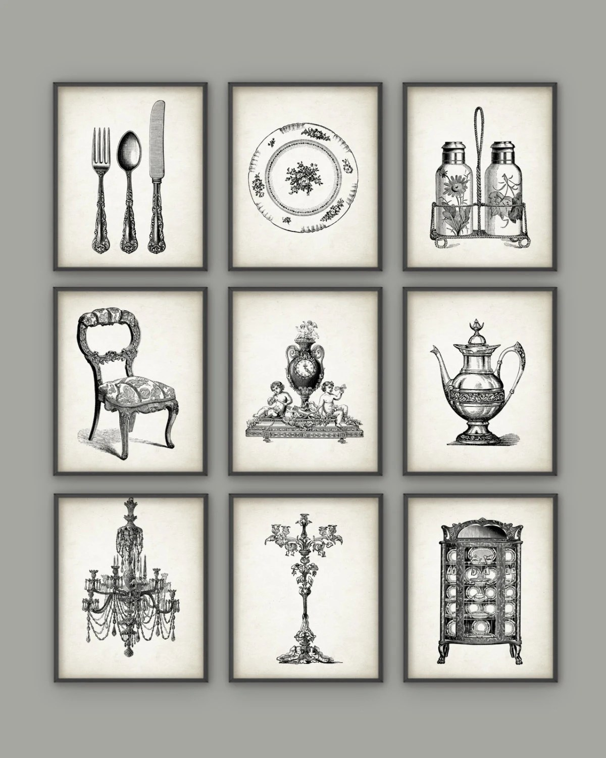 Dining Room Art Prints Set of 9 Vintage Home Decor Posters on Room Decor Posters id=42341