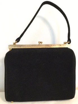 Vintage Black Velvet Handbag - 1950s Purse by BLOCK