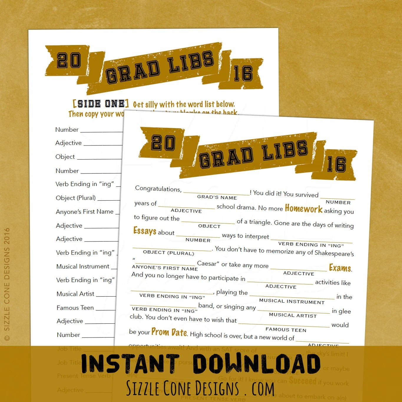 Grad Libs High School Graduation Party Madlib Game