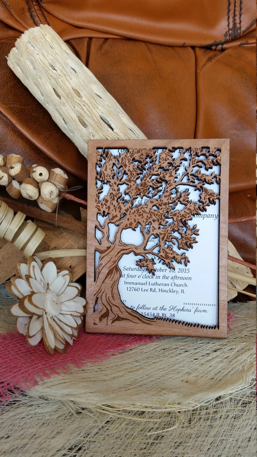 Rustic Laser Cut Tree Wedding Invitations