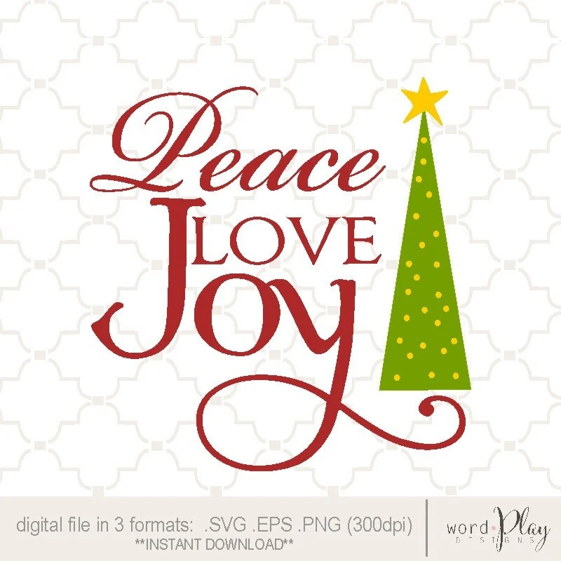 Download SVG Peace Love Joy with tree PNG EPS digital