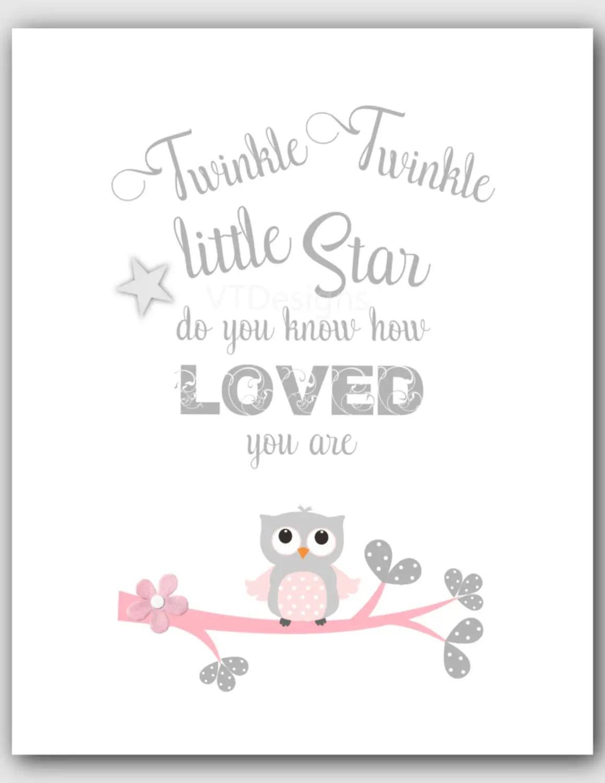 Pink Gray Nursery Baby Girl Nursery Decor Twinkle By Vtdesigns