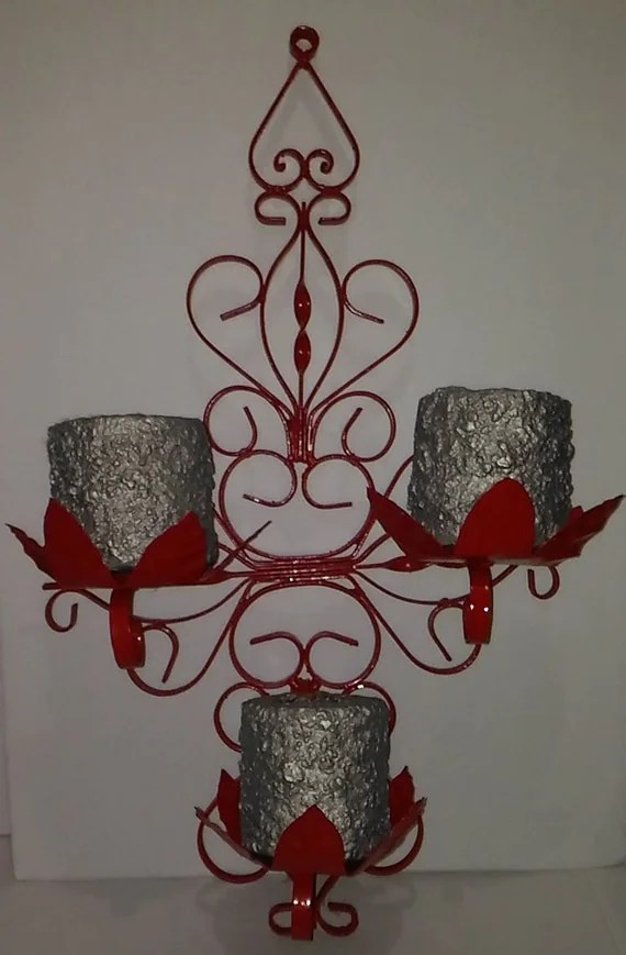 Antique Wrought Iron 3 Tier Candle Holder Large Wall Sconce on Antique Wrought Iron Wall Candle Holders id=78422