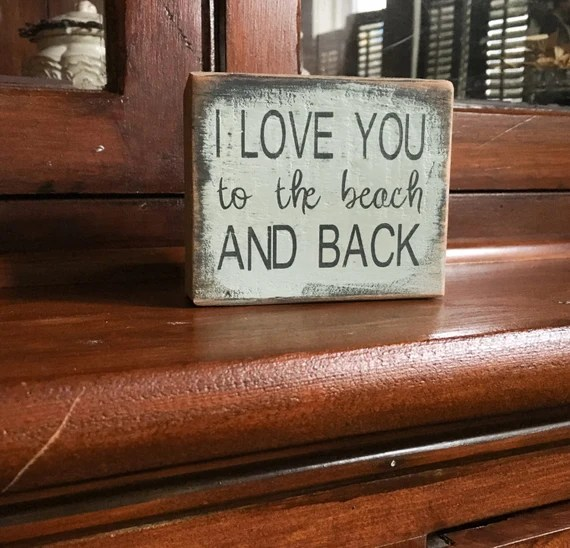 Download I love you to the beach and back handmade rustic box sign