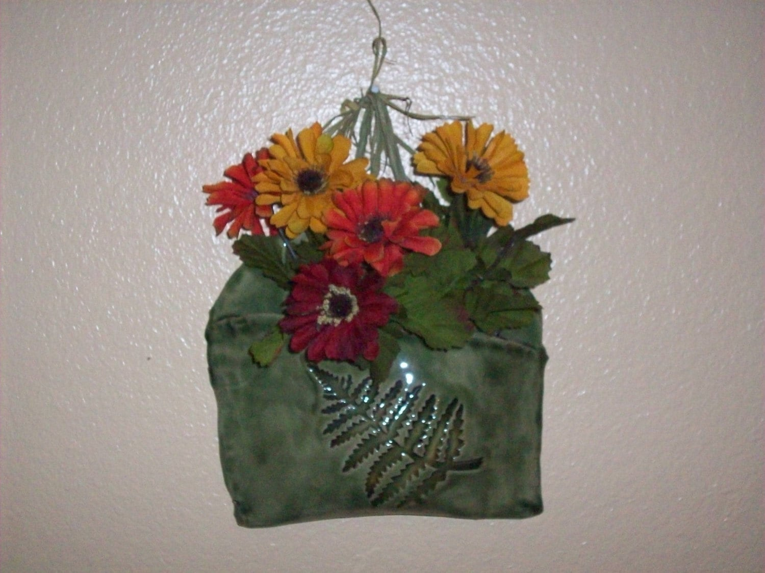 Wall Pocket Flower Holder Floral Sconce Ceramic by Clayworkz on Pocket Wall Sconce For Flowers id=15217