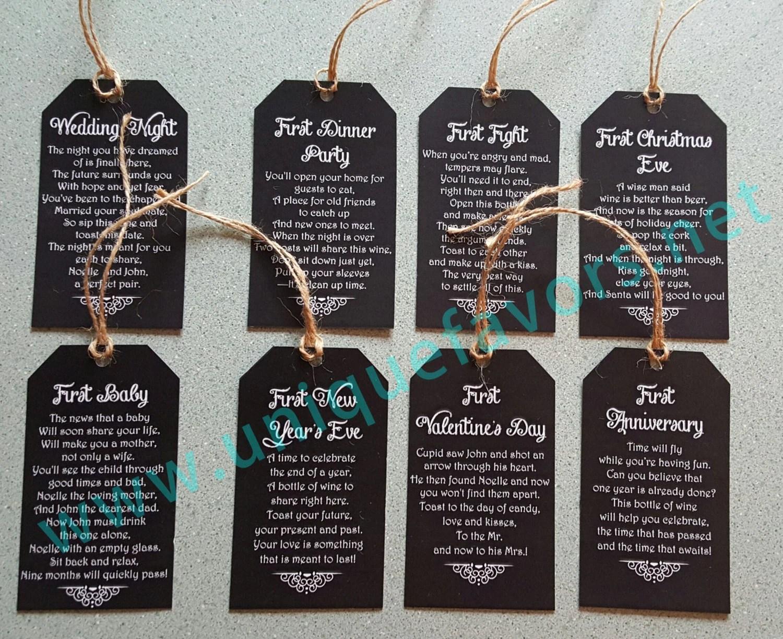 12 Tags Wedding Gift Bridal Shower Poem Wine Tags