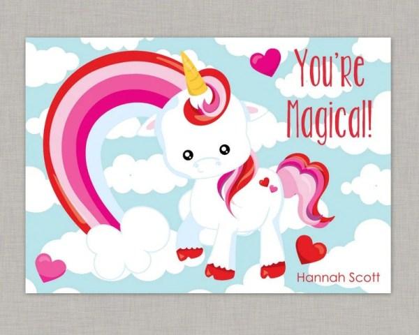 Unicorn Valentine Card Classroom Valentine Card