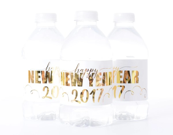 METALLIC FOIL New Years Party Water Bottle Labels - New ...