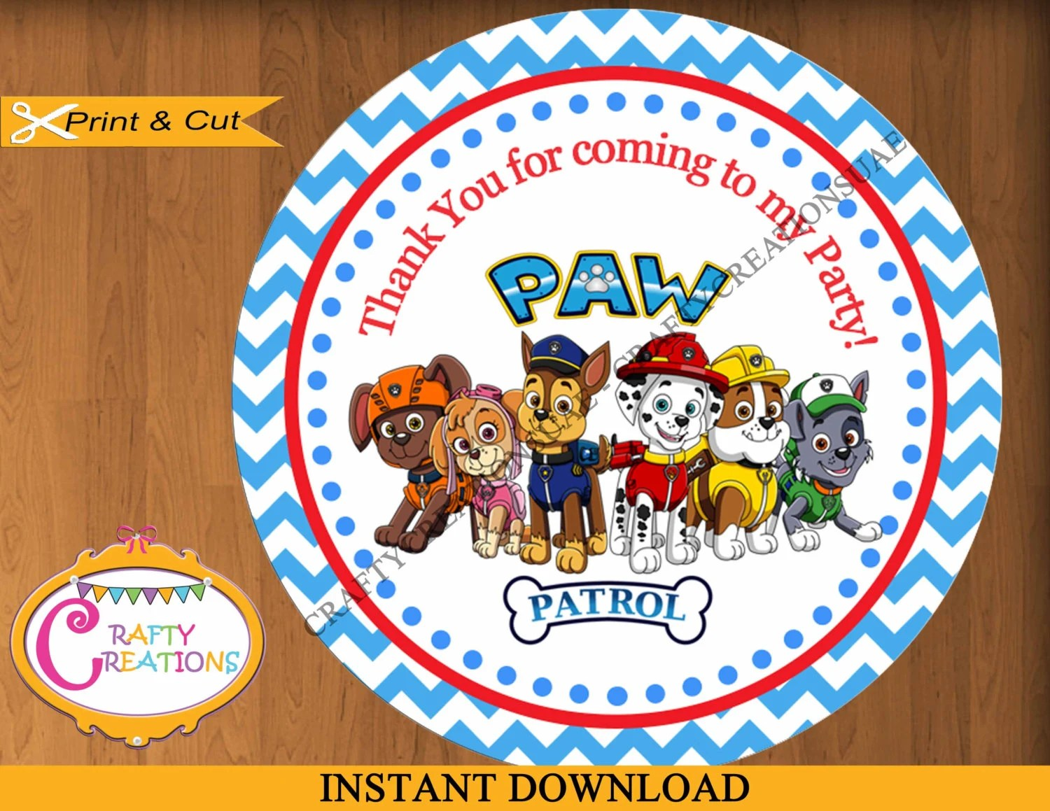 INSTANT DOWNLOAD Paw Patrol Favor Tags Sticker Party