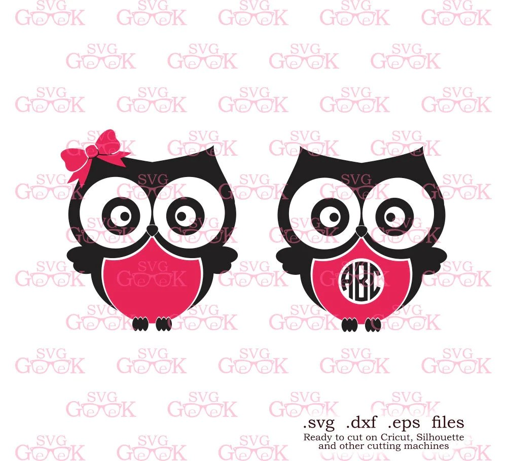 Download Owls SVG cut files Owls Monogram Frame svg cut files for use