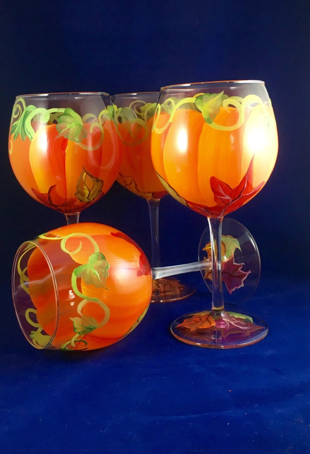 Pumpkin Wine Glasses Set Of Four Painted To Look Like A