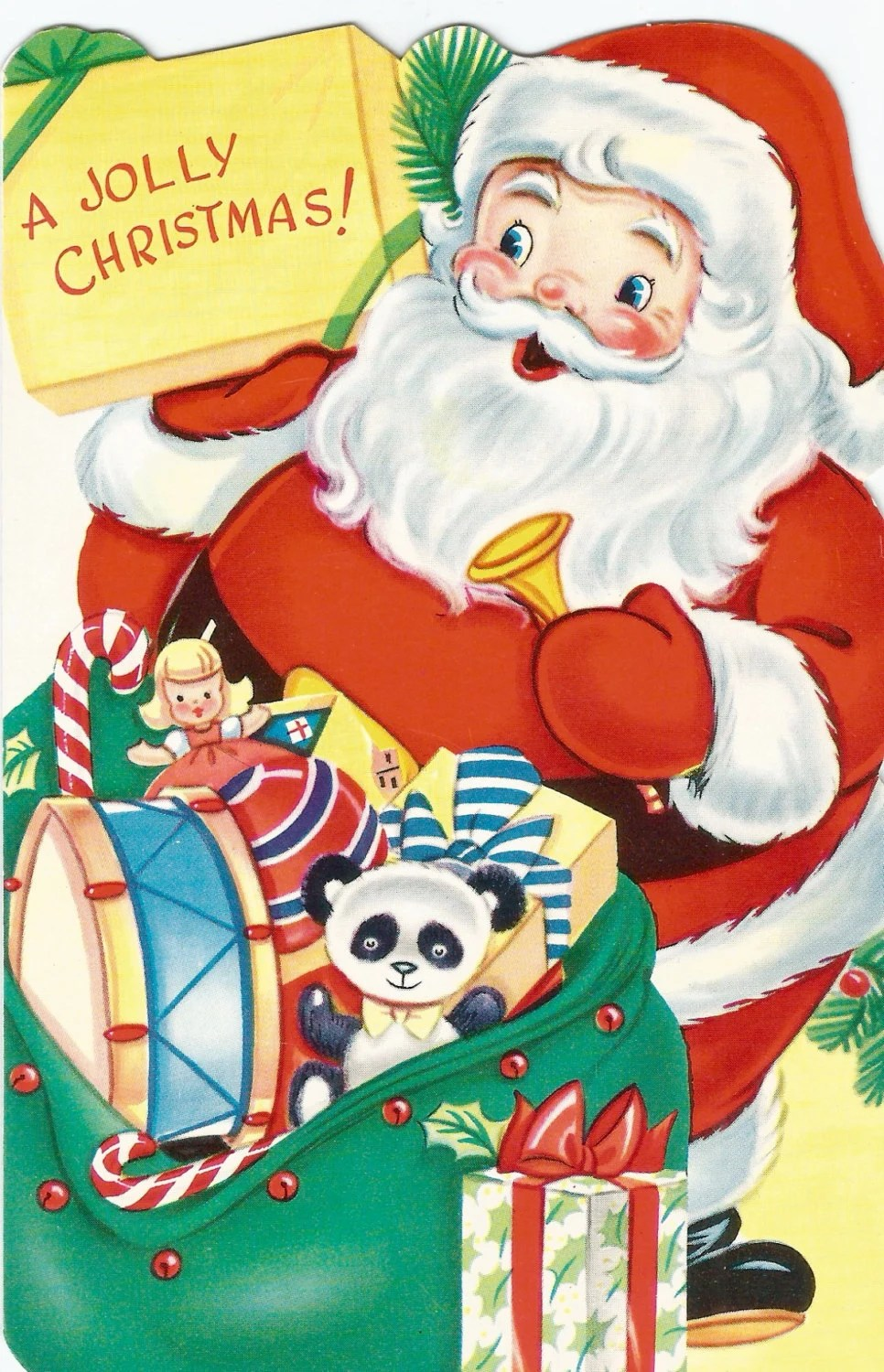 Vintage Santa Claus And Toys Christmas Card Digital Download