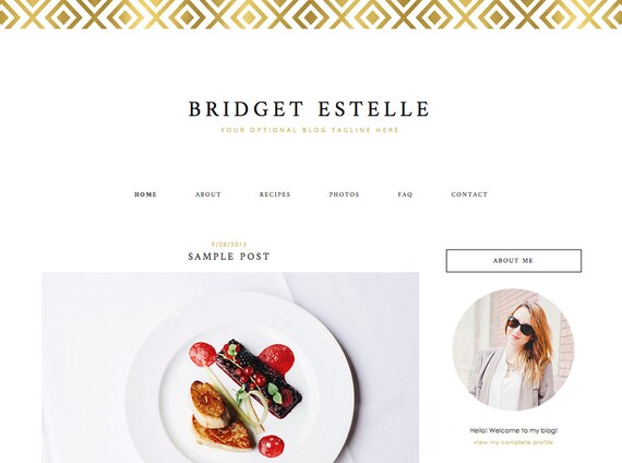 "Blogger Template, Blog Template - ""Bridget   by Anna"" Instant Digital Download, Gold"