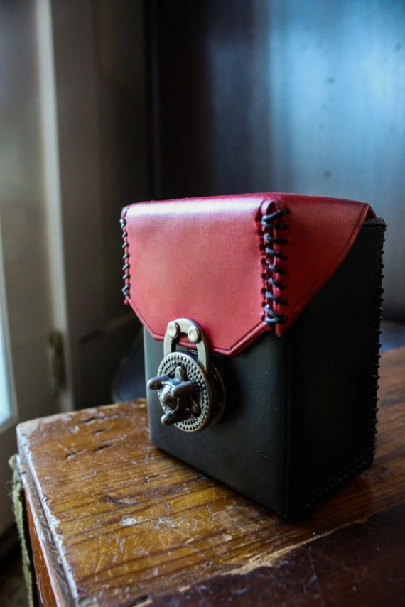 Leather Deck Box with purse turn lock