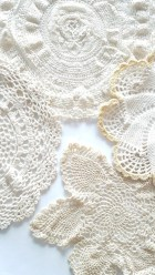 Vintage Doily Crochet Set {4}, Vintage Ivory, Beige, Yellow, Honey, Marigold, Rustic, Home, Aged, Table Cover, Farmhouse, Linen Coasters