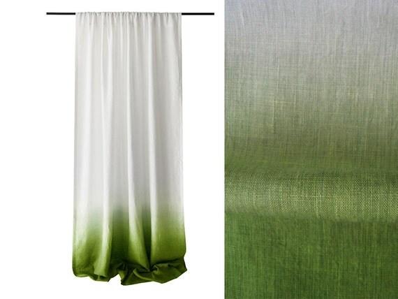 Dip Dye Linen Curtain Green Ombre Drapes Rod By LovelyHomeIdea
